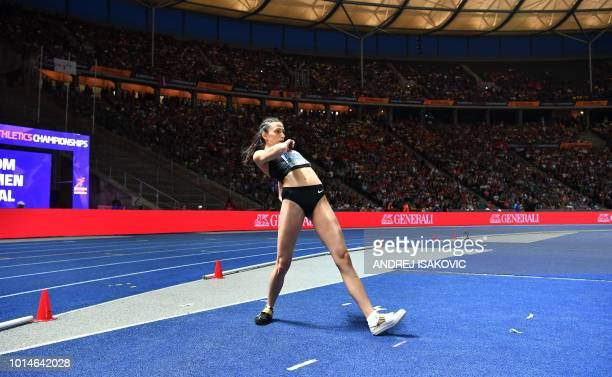 Authorised Neutral Athlete Mariya Lasitskene prepares to compete in the women's High Jump final during the European Athletics Championships at the...