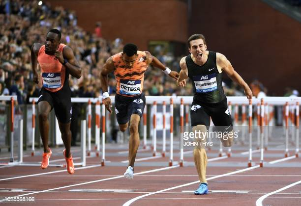 Authorised Neutral Athlete Sergey Shubenkov celebrates as he wins ahead of second-placed Orlando Ortega and third-placed and Jamaica's Hansie...