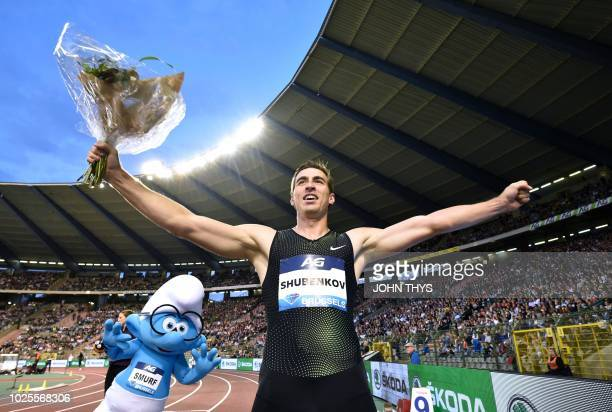 Authorised Neutral Athlete Sergey Shubenkov celebrates winning the Men's 110m Hurdles during the IAAF Diamond League 'Memorial Van Damme' athletics...
