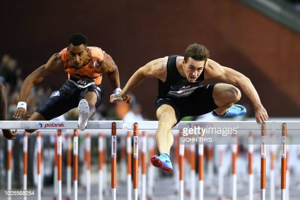 Authorised Neutral Athlete Sergey Shubenkov competes to first place ahead of secondplaced Orlando Ortega in the Men's 110m Hurdles during the IAAF...