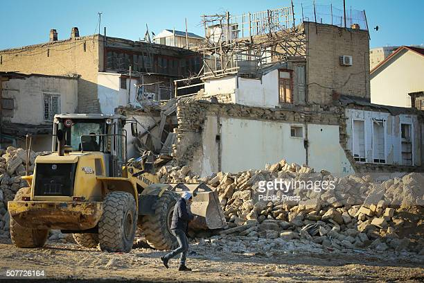 SOVETSKAYA BAKU AZERBAIJAN Authorities in front of one of the demolished house in Sovetskaya district in Baku The authorities demolished housing in...