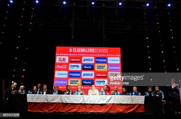 Authorities of Argentinos Jrs Juan Roman Riquelme Matías Caruzzo and Cristian Ledesma attend a press conference after the official unveiling of Juan...