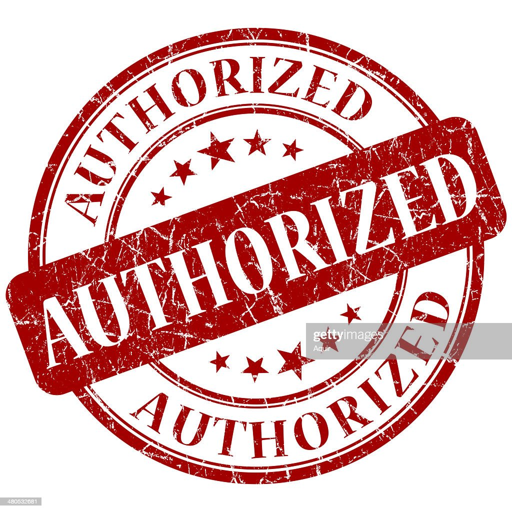 Authorized red stamp : Stock Photo