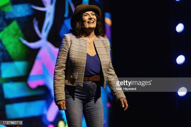 Author/mental health advocate Margaret Trudeau speaks on stage during WE Day at Tacoma Dome on April 18 2019 in Tacoma Washington