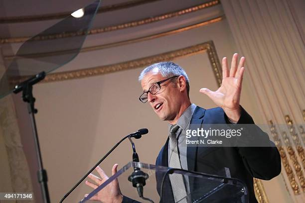 Author/president and cofounder of Farm Sanctuary Gene Baur speaks on stage during the 2015 Farm Sanctuary Gala held at The Plaza Hotel on October 24...
