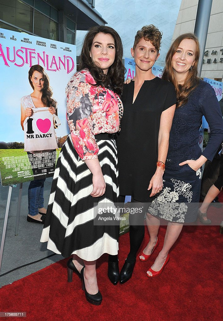 Author/producer Stephenie Meyer, director Jerusha Hess and author Shannon Hale arrive at the premiere of 'Austenland' at ArcLight Hollywood on August 8, 2013 in Hollywood, California.
