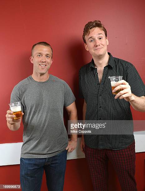 """Author/public speaker Tucker Max and actor Abe Goldfarb pose for a potrait before the Off-Broadway opening night of his play """"I Hope They Serve Beer..."""