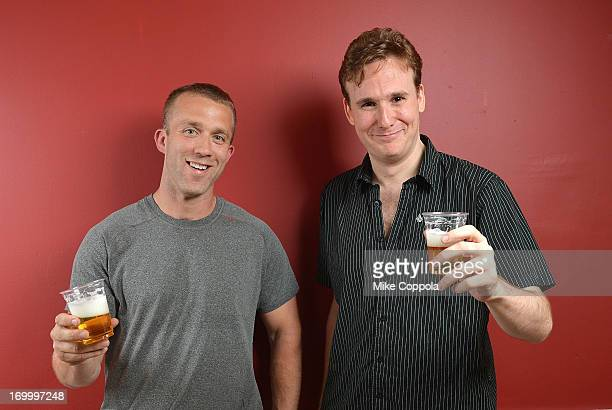 """Author/public speaker Tucker Max and actor Abe Goldfarb pose for a portrait before the Off-Broadway opening night of Tucker Max's play """"I Hope They..."""