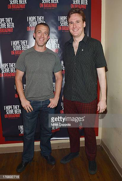 """Author/public speaker Tucker Max and actor Abe Goldfarb pose for a picture before the Off-Broadway opening night of his Tucker Max's """"I Hope They..."""