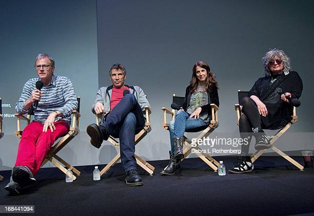 Authors and original MTV VJ's Alan Hunter Mark Goodman Martha Quinn and Nina Blackwood at Apple Store Soho on May 9 2013 in New York City