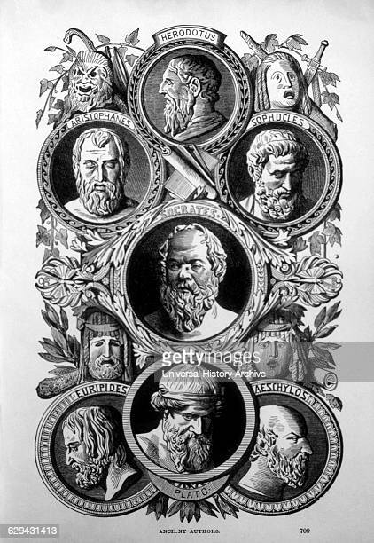 Authors and Philosophers of Ancient Greece, Herodotus, Aristophanes, Sophocles, Socrates, Euripides, Plato and Aeschylus, Engraving, circa 1880.