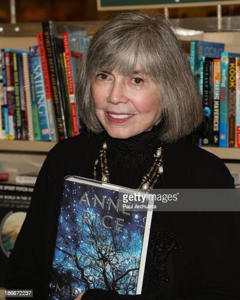 Authors Anne Rice and Christopher Rice sign copys of their new book 'The Wolves Of Midwinter' at Barnes Noble bookstore at The Grove on November 2...