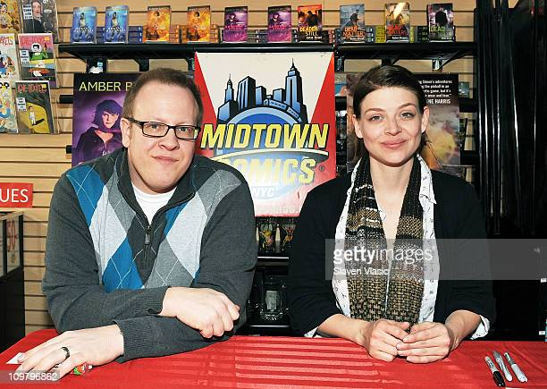 Authors Anton Strout and Amber Benson promote their new books 'Dead Waters' and 'Serpent Storm' at Midtown Comics Downtown on March 5 2011 in New...