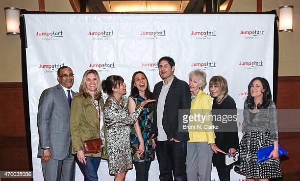 Authors David C Banks Isabel Gillies E Lockhart Rebecca Stead Matt De La Pena Lucy Ferriss Cynthia Weil and Sarah Mlynowski pose for photographs...