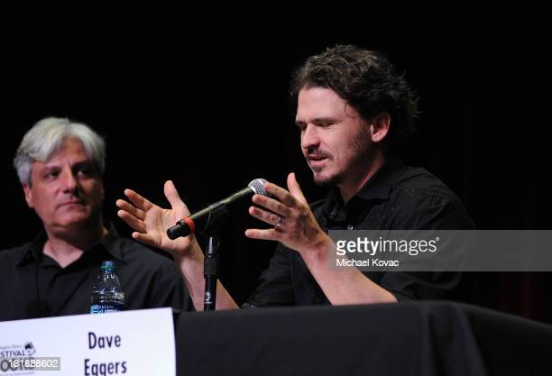 Authors David L Ulin and Dave Eggers speak onstage at day 1 of the 16th Annual Los Angeles Times Festival of Books held at USC on April 30 2011 in...