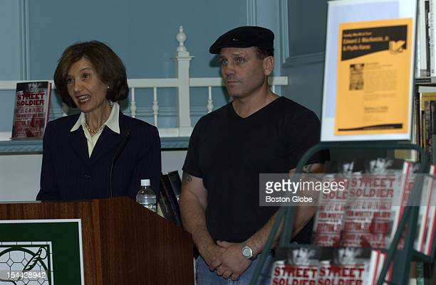 Authors Eddie MacKenzie right and Phyllis Karas left speak at the Barnes Noble book store at Boston University They have authored a new book titled...