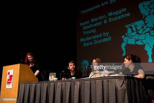 Authors Isaac Marion Suzanne Young and Maggie Stiefvater speak onstage at the 2011 Wordstock Literary Festival at the Oregon Convention Center on...