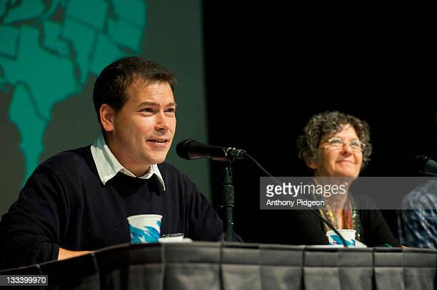 Authors Jason Skipper and Ellen Meeropol speaks onstage at the 2011 Wordstock Literary Festival at the Oregon Convention Center on October 9 2011 in...