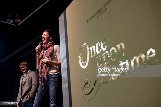 Authors Jonathan Auxier and Lauren Oliver speaks onstage at the 2011 Wordstock Literary Festival at the Oregon Convention Center on October 9 2011 in...