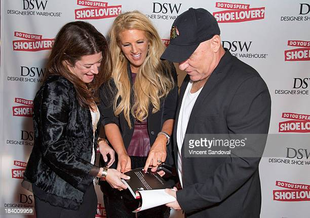 Authors Linda Meadow Kelly Cook and designer Steve Madden attends the Do You Speak Shoe Lover Style And Stories From Inside DSW book launch party at...