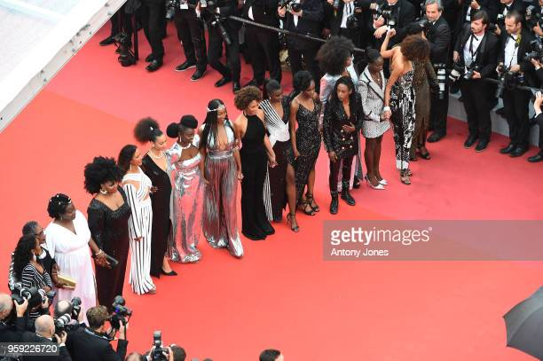 Authors of the book 'Noire N'est Pas Mon Métier' attend the screening of 'Burning' during the 71st annual Cannes Film Festival at Palais des...
