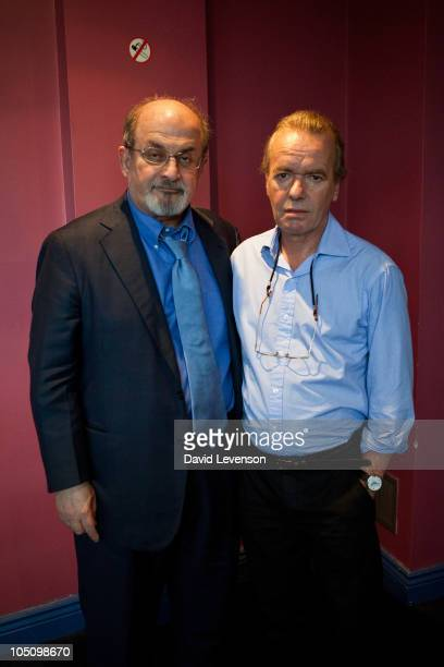 Authors Salman Rushdie and Martin Amis pose together at the Cheltenham Literature Festival on October 9 2010 in Cheltenham England