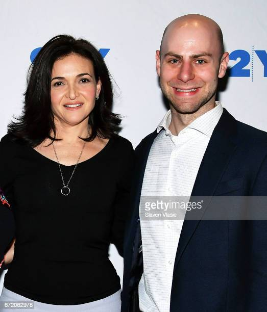Authors Sheryl Sandberg and Adam Grant attend 92Y's event 'Sheryl Sandberg And Adam Grant In Conversation With Katie Couric' at 92nd Street Y on...