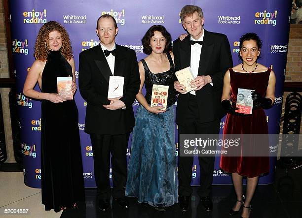 Authors Susan Fletcher Michael Symmons Roberts Geraldine McCaughrean John Guy and Andrea Levy pose for photographs as they arrive at the Whitbread...