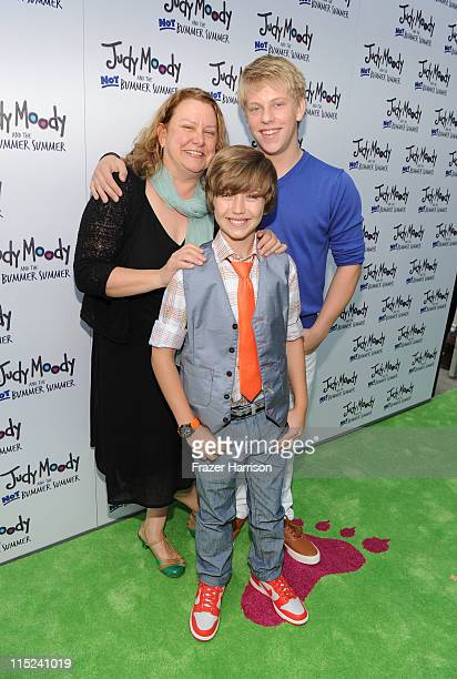 Author/Screenwriter Megan McDonald actors Garrett Ryan and Jackson Odell arrive at the premiere of Relativity Media's Judy Moody And The NOT Bummer...