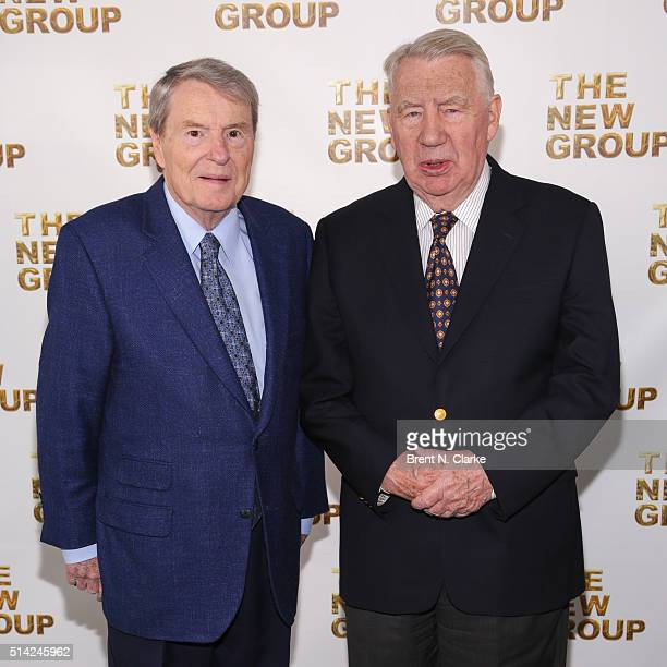 Authors/journalists Jim Lehrer and Robert MacNeil attend the 2016 New Group Gala held at Tribeca Rooftop on March 7 2016 in New York City