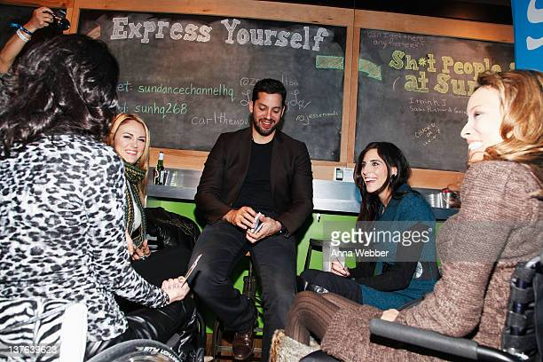 Auti Angel Tiphany Adams David Blaine Mia Schaikewitz and Angel Rockwood attend the Sundance Channel Party at 268 Main St on January 23 2012 in Park...