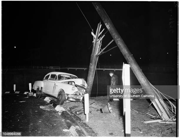 Auto accident 19 January 1952 RF Grant Wrecked car at end of Hollywood Freeway near San Pedro Street that crashed off traffic lane and snapped out a...