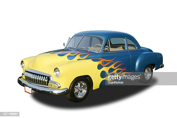auto car - 1952 chevrolet club coupe hot rod - hot rod car stock photos and pictures