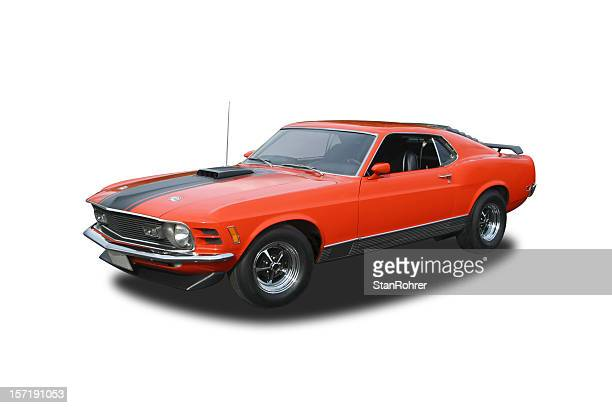 auto car - 1970 ford mustang mach 1 - 1970s muscle cars stock pictures, royalty-free photos & images