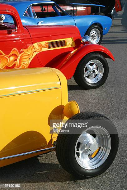 Auto Car - Red Yellow and Blue Hot Rod