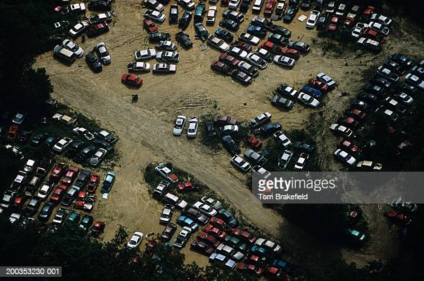 auto junkyard, pollution, aerial view - junkyard stock photos and pictures