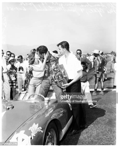 Auto races Santa Barbara road races 1 June 1958 Sandra KnightJack McAffee winner main eventJim Mitchum Supplementary material reads 'left to right...