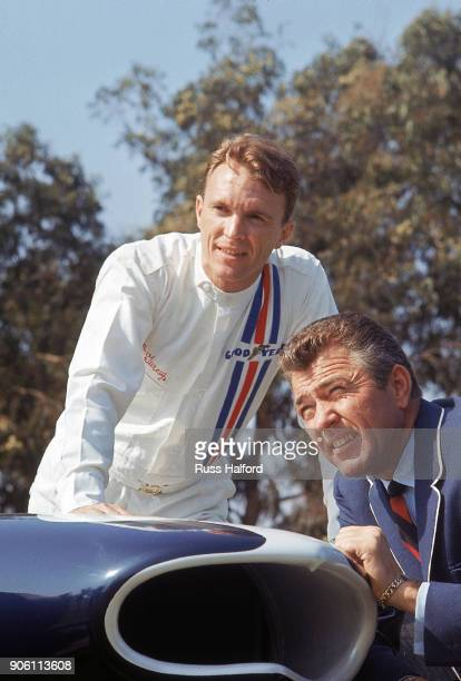 Portrait of automotive designer and former racer Carroll Shelby and driver Dan Gurney posing with American Eagle car. Los Angeles, CA 3/12/1966...