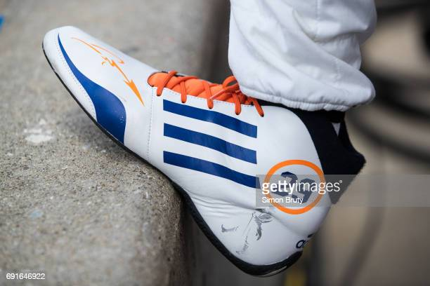 101st Indianapolis 500 Preview Closeup of shoe of Fernando Alonso during practice session at Indianapolis Motor Speedway Indianapolis IN CREDIT Simon...