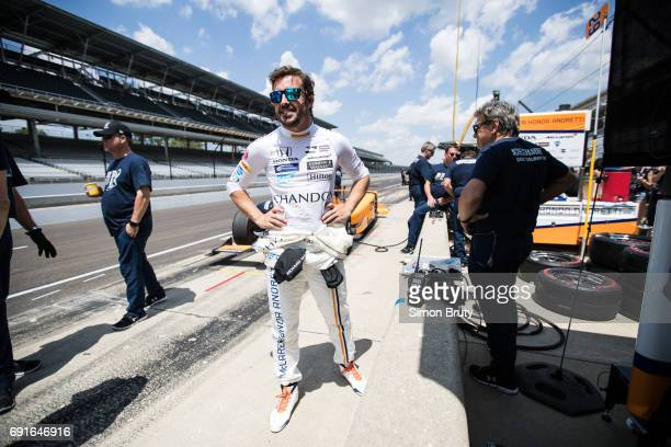 101st Indianapolis 500 Preview Fernando Alonso during practice session at Indianapolis Motor Speedway Indianapolis IN CREDIT Simon Bruty