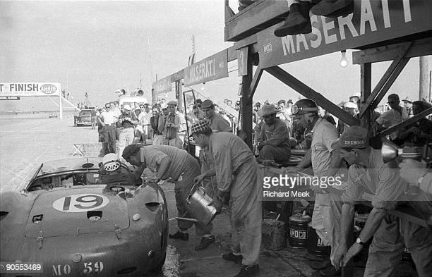 12 Hours of Sebring Team Maserati during pit stop at Sebring International Raceway Jean Behra and Juan Manuel Fangio drove the car in shifts Sebring...