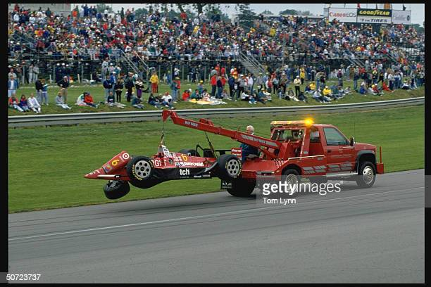 1992 Indy 500 Tow truck towing Arie Luyendyk's car