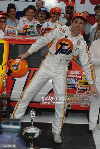 31st NASCAR Daytona 500 Darrell Waltrip victorious doing the Ickey Shuffle dance during Victory Lane celebration at Daytona International Speedway...