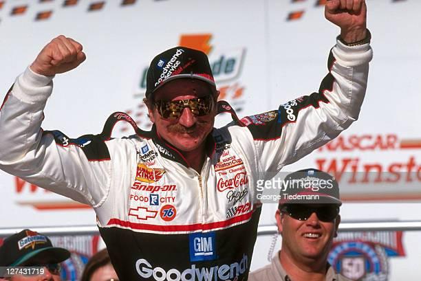 40th NASCAR Daytona 500 Closeup of Dale Earnhardt victorious after winning race at Daytona International Speedway Daytona FL CREDIT George Tiedemann