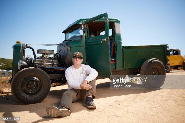 52nd San Diego Antique Drags Portrait of Attorney Dan Bodell with 1934 Ford pickup at Barona Reservation Lakeside CA CREDIT Robert Beck