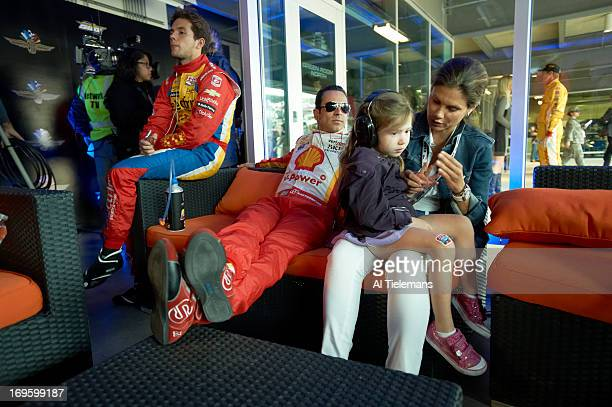 97th Indianapolis 500 View of Helio Castroneves with his girlfriend Adriana Henao and their daughter Mikaella in green room before race at...