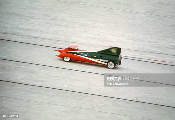 Aerial view of Art Arfons in action driving Green Monster with a former F104 Starfighter GE J79 jet engine during attempt to break world landspeed...