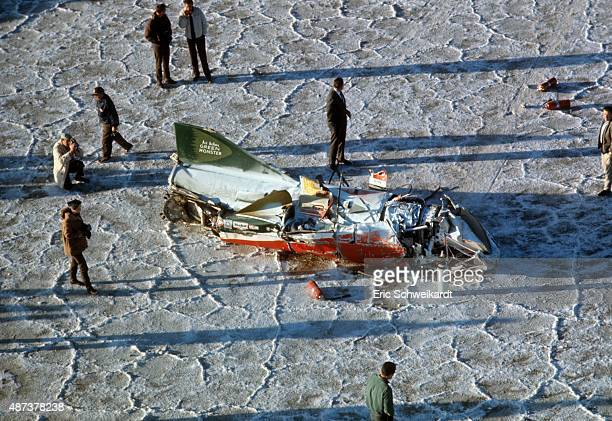 Aerial view of Green Monster with a former F104 Starfighter GE J79 jet engine after crash by Art Arfons during attempt to break world landspeed...