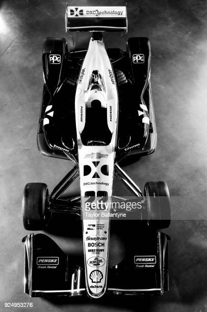 Aerial view of redesigned car set to debut in the 2018 Verizon IndyCar Series during photo shoot at Classic Car Club Manhattan at Pier 76 New York NY...