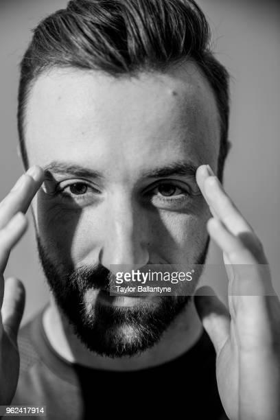 Casual closeup portrait of IndyCar driver James Hinchcliffe posing during photo shoot at Time Inc. Studios. New York, NY 5/22/2018 CREDIT: Taylor...